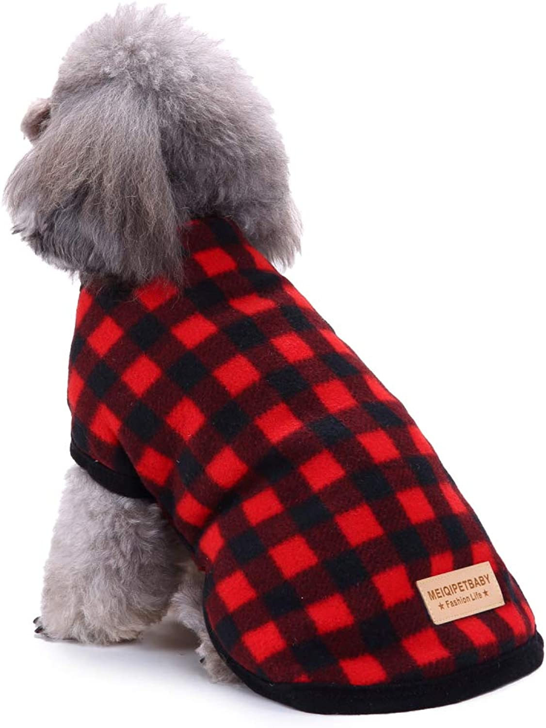Dog Plaid Shirt Coat Pet Warm and Soft Fleece Winter Clothes for Medium and Large Dogs Apparel Red Back 11.02'' Chest 15.35''
