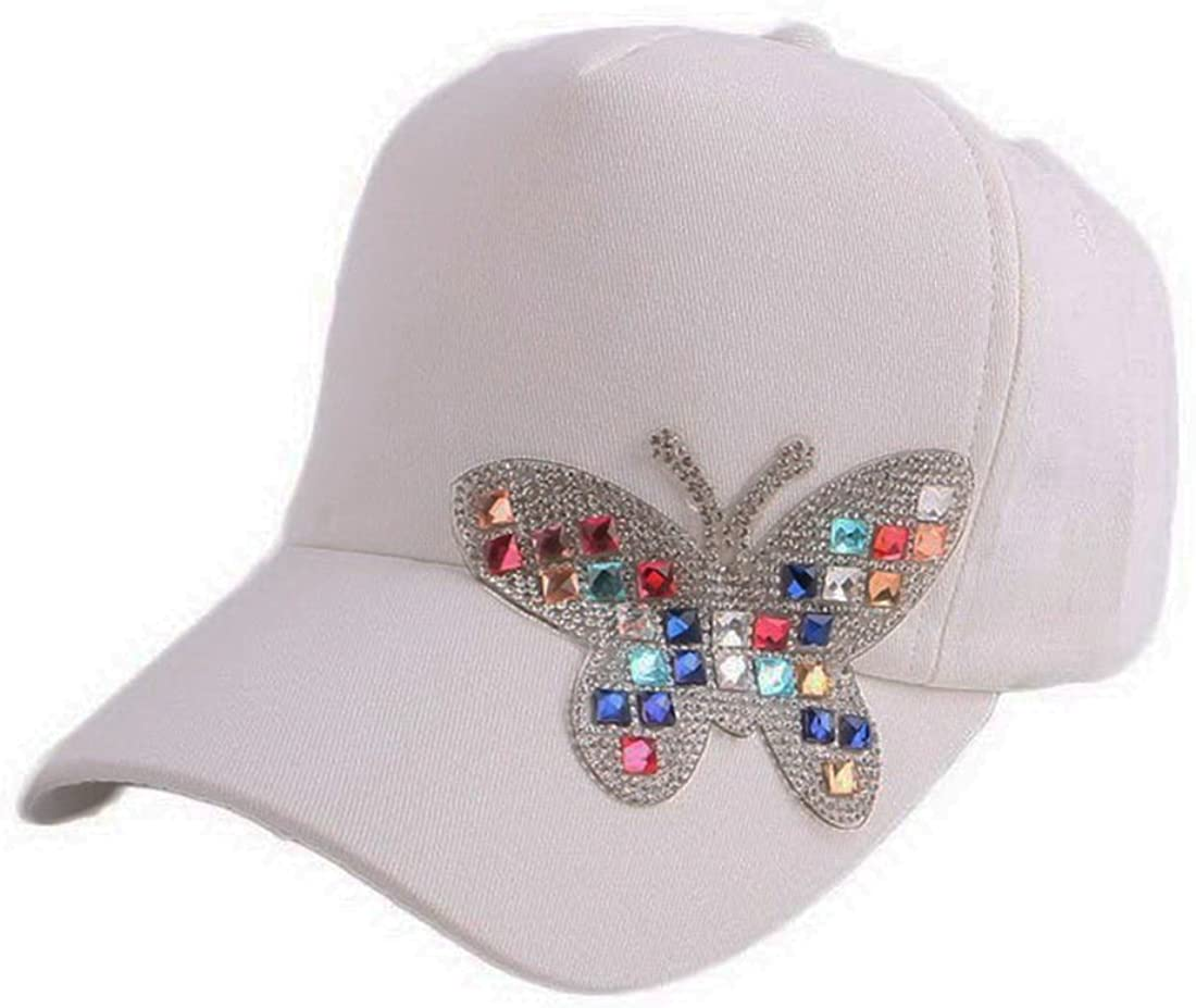 LKXHarleya Adult Butterfly Crystal Rhinestone Baseball Caps Vintage Distressed Washed Denim Snapback Dad Hats Adjustable