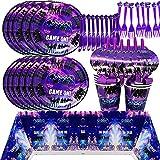 BESLIME Game Party Supplies Vajilla para Fiestas Diseño Incluye Platos, Tazas, servilletas, Tenedores y Cuchillos Video Gaming Party Supplies