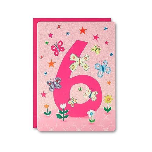 James Ellis HC2402 Girls Age 6 Butterflies Card