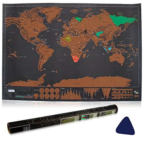 Scratch il Mondo, Vitutech Mappa da Grattare Voglia di Viaggiare Deluxe Scratchy Planet la cartina da grattare nel robusto tubo per la conservazione / cilindro regalo Mappa del mondo da grattare