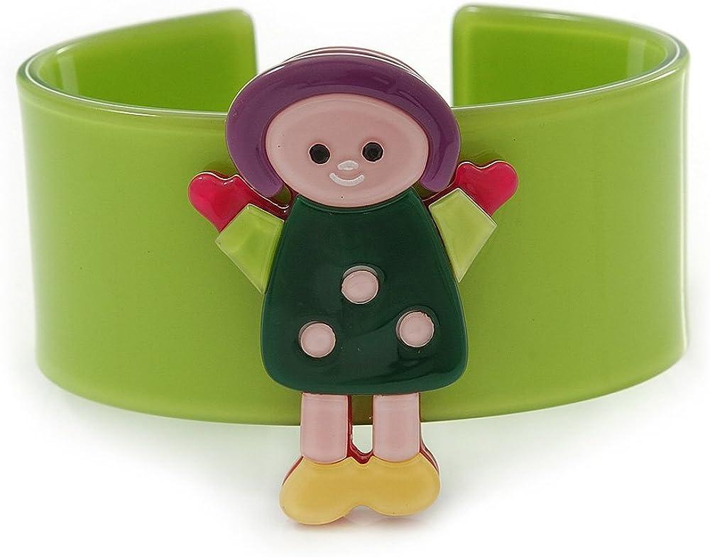 Avalaya Light Green, Yellow, Pink Dolly Acrylic Wide Cuff Bracelet - 19cm L