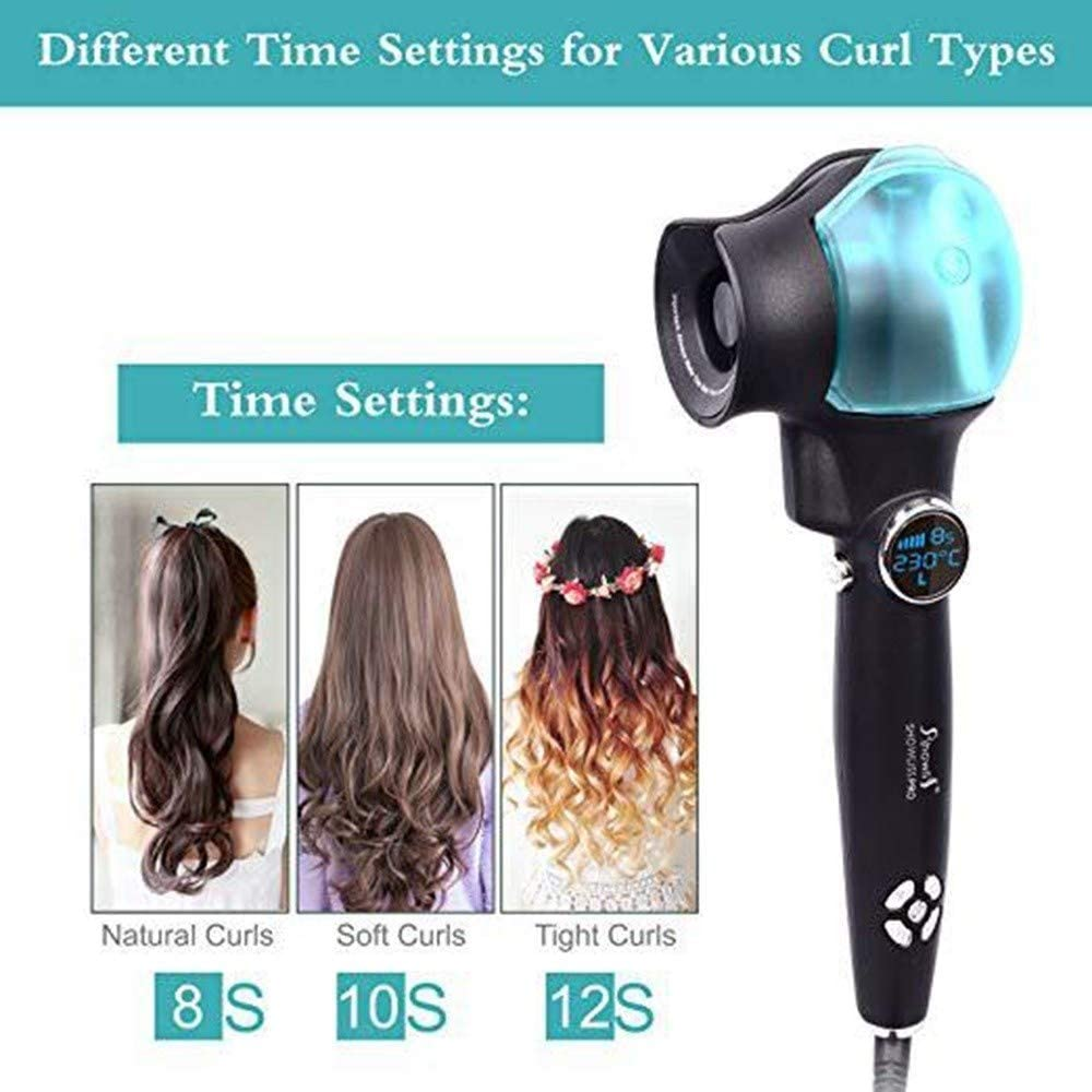 Spray Ceramics Hair Curler, Multifunction Automatic Curling Iron, LCD Hair Care Black Curler Styling Tool (Color : Black) Black 0Zruk