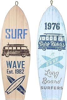 CAPRILO. Set de 2 Adornos Pared Decorativos de Madera Tablas Surf Riders. Cuadros y Apliques. Decoración Hogar Marinera. M...