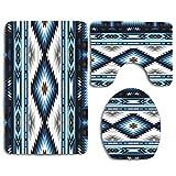 N\A Resumen Azul Americano Colores Tribal Navajo Surf Indio Hippie Perú Diseño Africano indígena Alfombra de baño Set 3PCS Alfombra de baño Antideslizante Contorno, tapete y Tapa de Inodoro