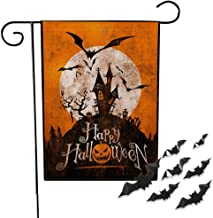 SICOHOME Halloween Garden Flag,Orange,12x18 inch Double-Sided Happy Halloween Flag,Decorative Bat and Castle Garden Flag for Yard Lawn Patio Farmhouse