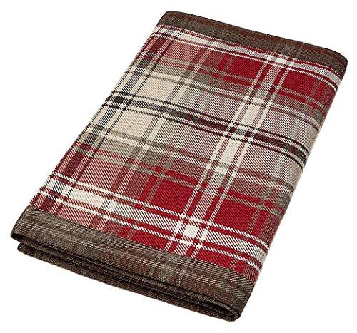 McAlister Textiles Angus - Camino de cama (50 x 255 cm), diseño de tartán rojo y blanco