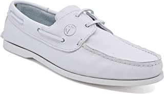 Seajure Chaussures Bateau pour Homme Knude Blanc Leather