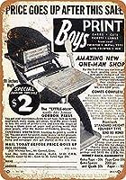 メタルサイン1940リトルマンボーイの印刷機レトロな装飾ティンサインバー、カフェ、アート、家の壁の装飾
