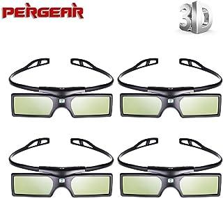 Pergear 144Hz DLP Link方式 アクティブシャッター 3Dメガネ For Optoma/BenQ/Acer/LG/Sharp/Vivitek/Dell/ViewSonic/NEC/CASIO プロジェクター (4組)
