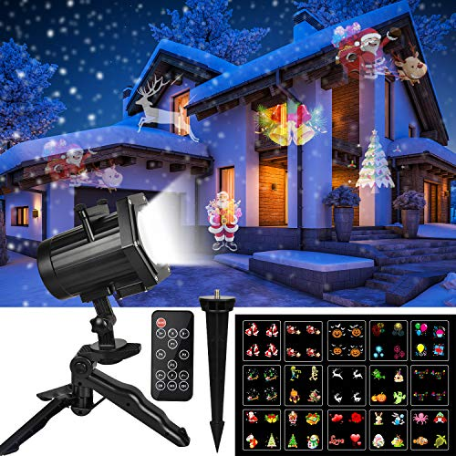 Christmas Lights, UNIFUN Decorations Lights Projector with Red Blue Star -16 Slides LED Landscape Projection Lights for Christmas, New Year and Holiday Decorations with Remote Control and Timer