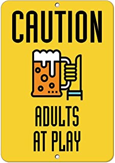Glad grace Caution Adults at Play Style 2 Traffic Sign Aluminum Metal Sign