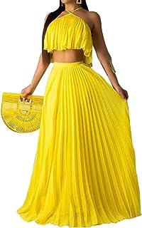 Womens Halter Neck Sleevless Chiffon Maxi Dress - Pleated Crop Top and Flowy Skirts Sets Party Beach Sundress