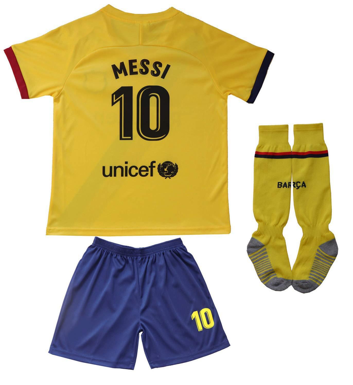 Da Games 青年运动装 Barcelona Messi 10 儿童足球运动衫/短裤足球袜套装