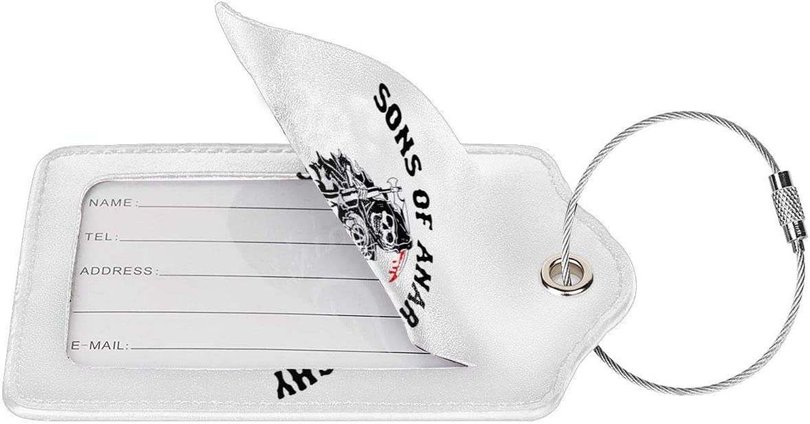Adsfghrehr Sons of Anarchy Leather Instrument Baggage Bag Luggage Tags with Privacy Cover Privacy Cover W//Steel Loops