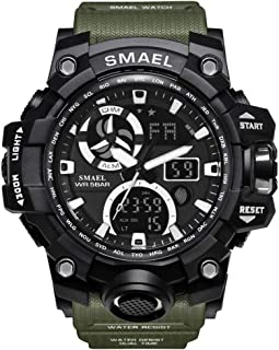 Men's Military Watch, LED Display Digital Watch Sports Watches Multifunctional Large Wrist Watches - army green