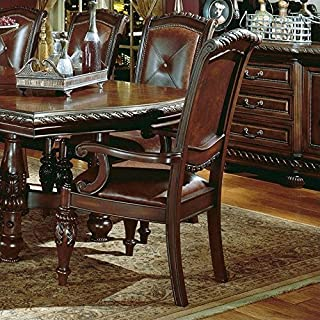 Steve Silver Company Antoinette Leather Dining Arm Chair in Cherry