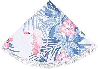 Cabilock 150cm Round Beach Towel Ultra Plush Round Tapestry or Beach Blanket Round Boho Tablecloth (Blue)