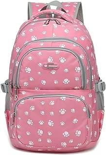 Dog Pawprint Cat Fingerprint Backpack for Elementary or Middle School Girls (Bright Pink)