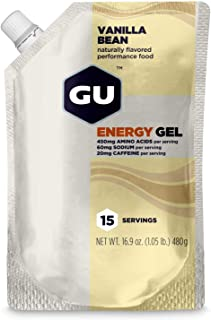 GU Energy Original Sports Nutrition Energy Gel, 15-Serving Pouch, Vanilla Bean