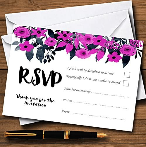 Watercolour Black /& Hot Pink Floral Header Personalized Wedding Thank You Cards