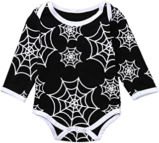 iLOOSKR Newborn Baby Boys Girls Long Sleeves Spider Web Print Jumpsuit Romper Kids Clothing