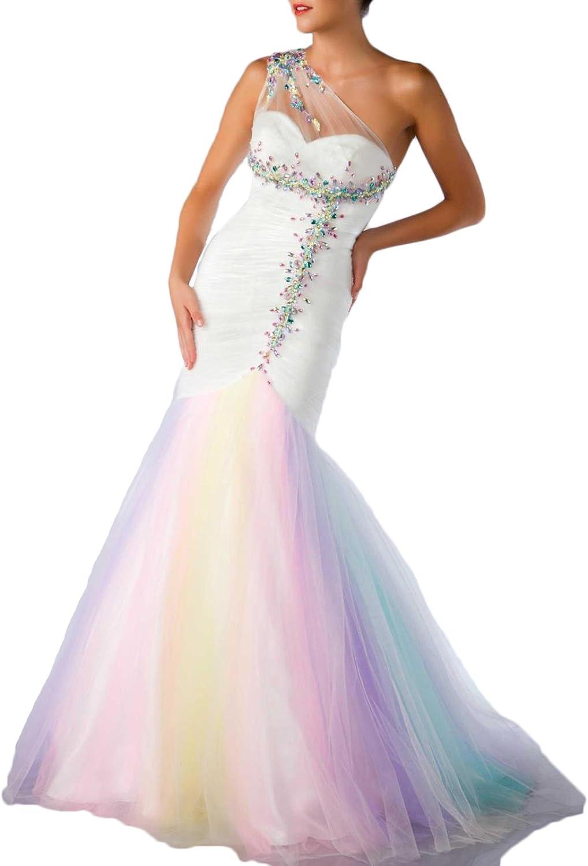 HotDresses Women's One Shoulder Mermaid Beaded Tulle Rainbow Prom Dresses