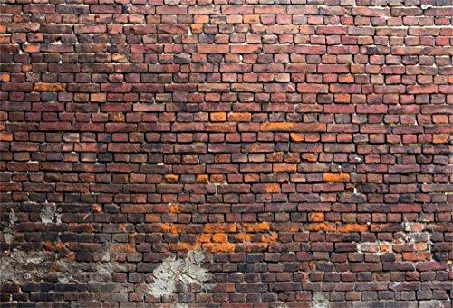 YongFoto 3x2m Vinyl Foto Hintergrund Ziegel Alt Dreckig Backstein Mauer Verwittert Fotografie Hintergrund für Fotoshooting Portraitfotos Fotografen Kinder Fotostudio Requisiten