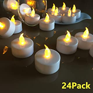 VETOUR Flameless Tea Lights Candles Realistic LED Flickering Operated Tea Lights Steady Battery Tealights Long Lasting Electric Fake Candles in Yellow 24pcs Decoration for Party and Gifts Ideas