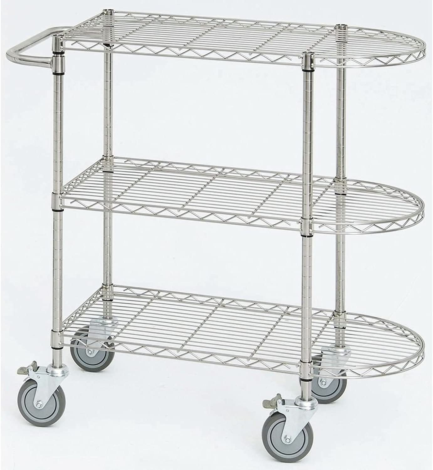 HUBERT Round Nose Wire Cart Soft Silver - 36 L x 18 W x 39 1 2 H