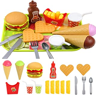 Elitao Play Fast Food Set - 18 Piece Pretend Play Burger Fries Ice Cream and Ketchup Food Toy - Best Gifts Food Playset for Boys, Girls, Kids (B-Ice Cream Style)