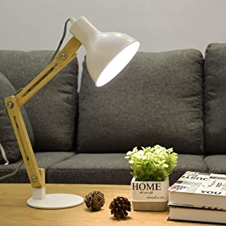 DLLT Led Wood Desk Lamp, Architecture Flexible Table Lamp, 4W(Bulb Included)-wooden Task Industrial adjustable Lamp for Work, Reading, Study, Bedside, Workbench,Bedroom, Warm light