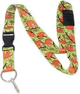 Limeloot Sloth Premium Lanyard with Breakaway, Release Buckle, and Flat Ring.