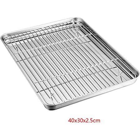 Yywj Mini plaque de cuisson pour four en acier inoxydable avec grille de refroidissement, pour barbecue, saucisses et bacon, facile à nettoyer et passe au lave-vaisselle