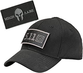 Black 5.11 Hawkeye Fitted Tactical Cap Bundle with Matching Tactical Patch