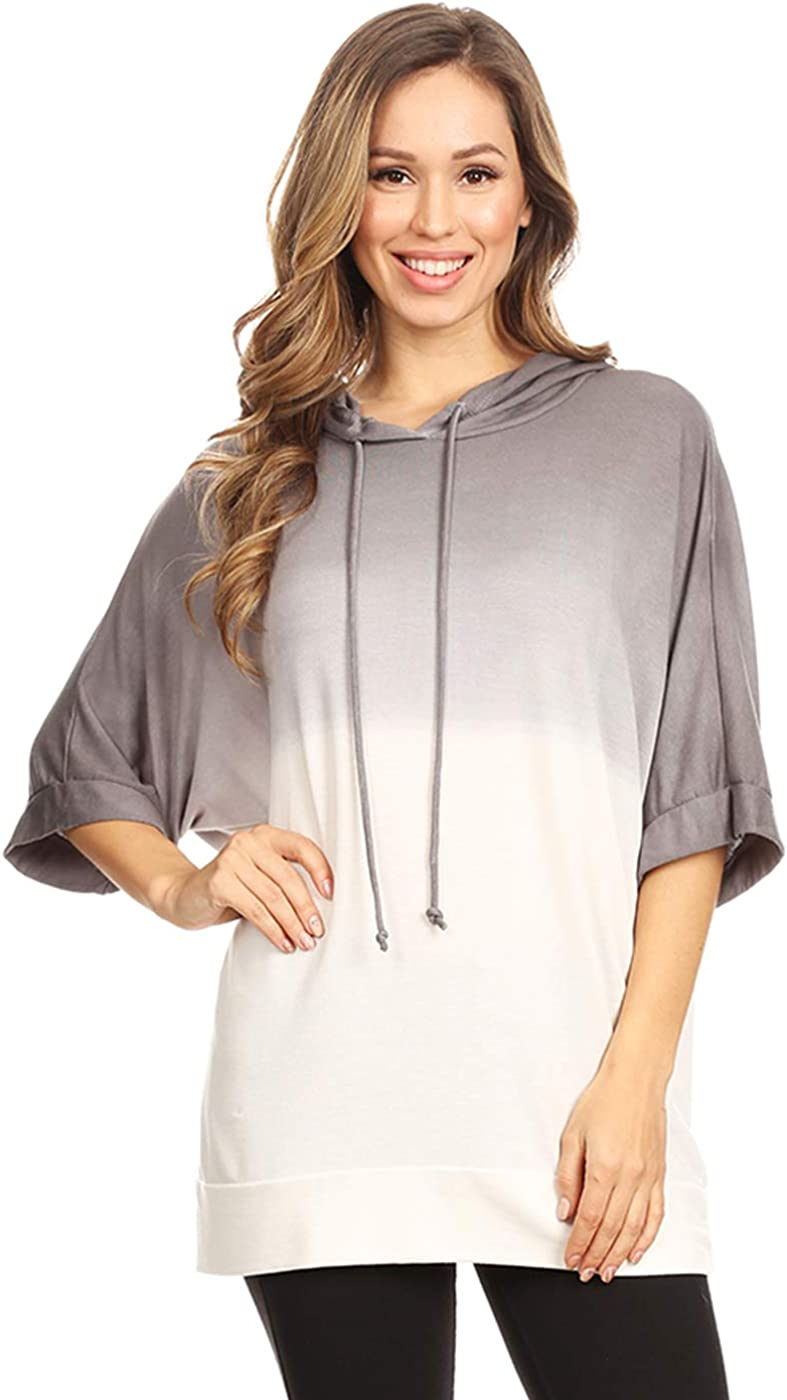 Anna-Kaci Ombre Tie Dye 3/4 Sleeve Loose Fit Drawstring Casual Tunic Hoodie T-Shirt