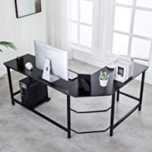 Ulikit Modern L Shaped Computer Desk Corner Gaming Desk Computer Table Workstation Office Wood Top Desk Black 66