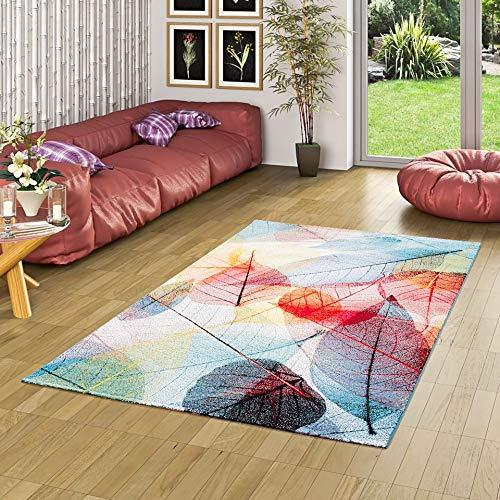 Pergamon Designer Teppich Faro Tropical Bunte Blätter in 5 Größen