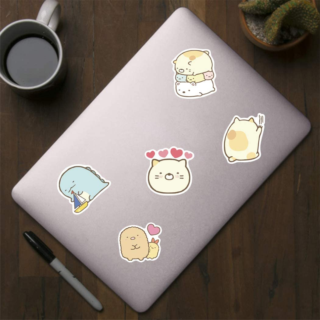 laptops Kawaii Sumikko Sticker 50 Pcs Waterproof Removable,Lovely,Beautiful,Stylish Teen Stickers Suitcase Durable Vinyl Phones,Guitar Suitable for Boys and Girls in Water Bottles