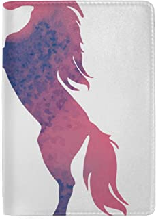 Unicorn Silhouette and Stars Blocking Print Passport Holder Cover Case Travel Luggage Passport Wallet Card Holder Made with Leather for Men Women Kids Family