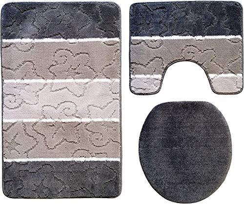 Ilkadim Orion Badgarnitur 3 TLG. Set 50x80 cm Mehrfarbig gestreift, WC Vorleger mit Ausschnitt für Stand-WC (grau grau beige 50x80cm Stand)