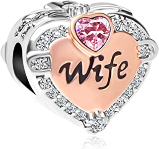 Rose Gold Wife Heart Love Charms Beads for Bracelets & Necklaces