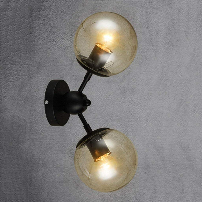 Nordic eiserne Wand Lampe Wohnzimmer Glas Lampen und Laternen Bett Schlafzimmer Einfache, moderne Beleuchtung (Gre  2 Kpfe)