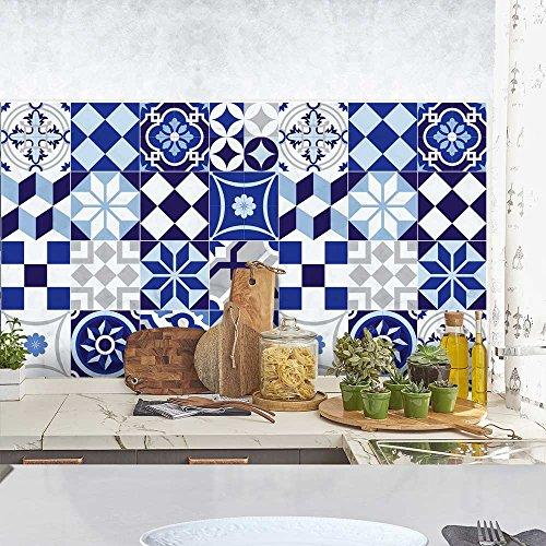 24 (Piezas) Adhesivo para Azulejos 20x20 cm - PS00048 - Azul Portuguesa - Adhesivo Decorativo para Azulejos para baño y Cocina - Stickers Azulejos - Collage de Azulejos