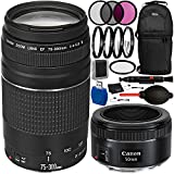 Canon EF 75-300mm f/4-5.6 III & EF 50mm f/1.8 STM Dual Lens Bundle with Accessory Kit