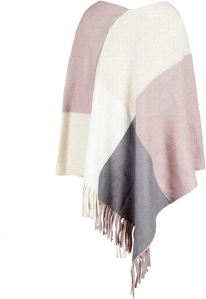 Hubl Women V-Neck Irregular Patchwork Cloak Loose Shawl Cardigan Sweater Coat Long Sleeve Tops