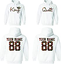 Custom Couple Floral Pattern Hoodies, Names and Numbers for him and her Matching Couples Hoodie