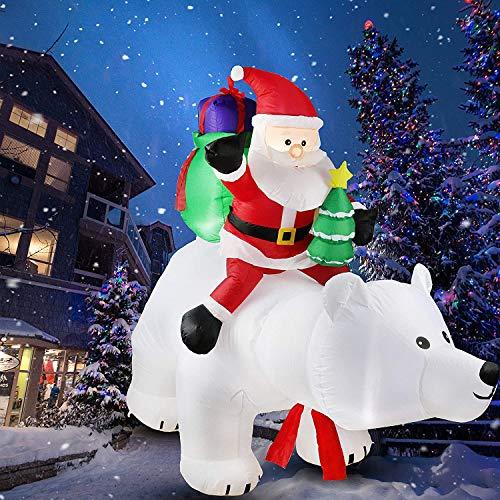 wolketon Aufblasbarer Weihnachtsmann Leuchtende Eisbär Aufblasbarer 240cm LED Beleuchtet Befestigungsmaterial Weihnachtsdeko Santa Außen Deko Figur Spritzwassergeschützt IP44