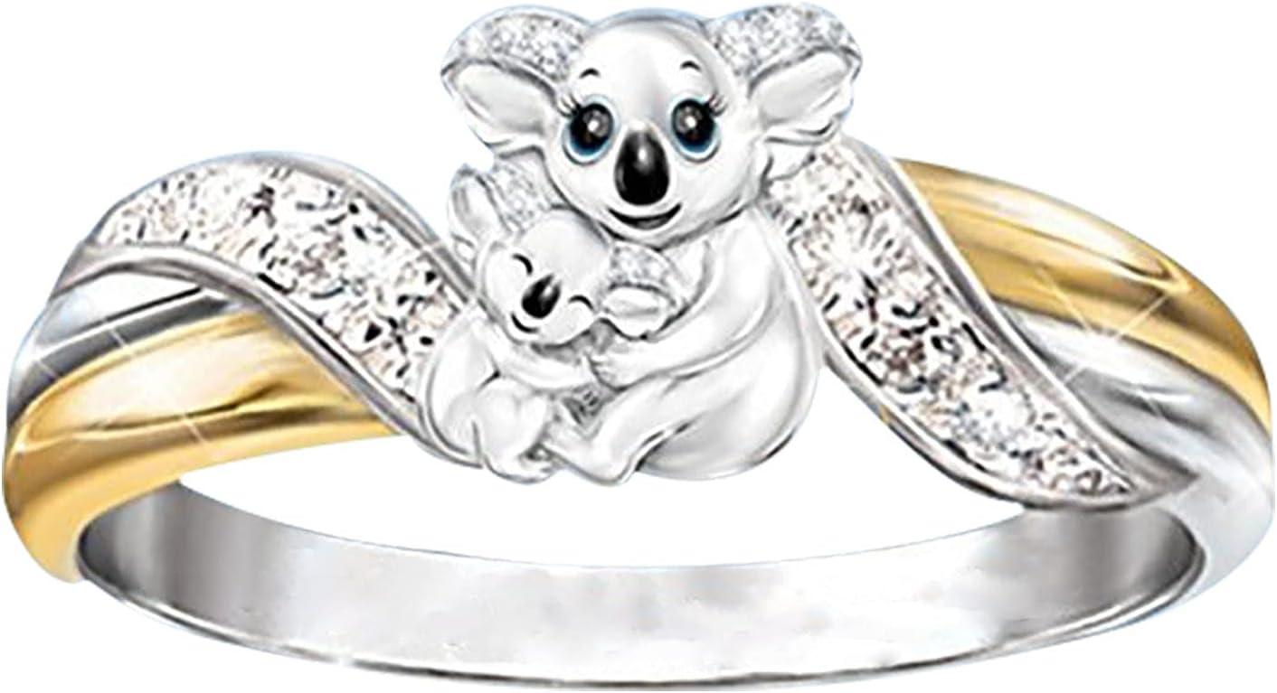 Ywbaw Women's Fashion Creative Ring - Koala Ring, Zircon Diamond Inlaid, Unique Lettering Ring Jewelry Gift (7)