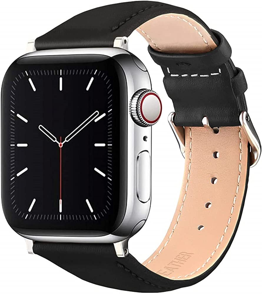 MAOSEMSI Leather Bands Compatible with Apple Watch Band 38mm 40mm 42mm 44mm, Upgrade Genuine Leather Replacement Strap Women Men for iWatch SE & Series 6/5/4/3/2/1